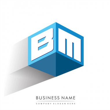 Letter BM logo in hexagon shape and blue background, cube logo with letter design for company identity. icon