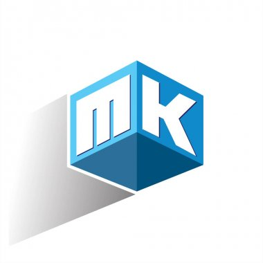 Letter MK logo in hexagon shape and blue background, cube logo with letter design for company identity. icon