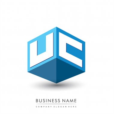 Letter UC logo in hexagon shape and blue background, cube logo with letter design for company identity. icon