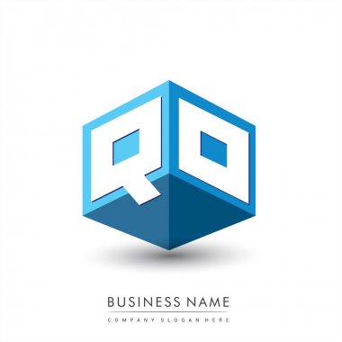 Letter QO logo in hexagon shape and blue background, cube logo with letter design for company identity. icon