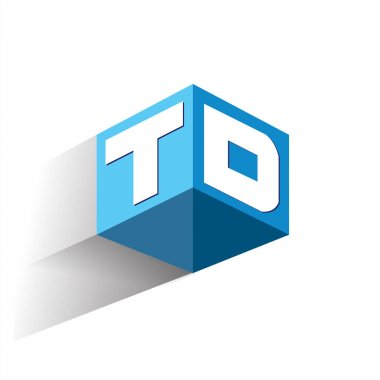 Letter TD logo in hexagon shape and blue background, cube logo with letter design for company identity. icon