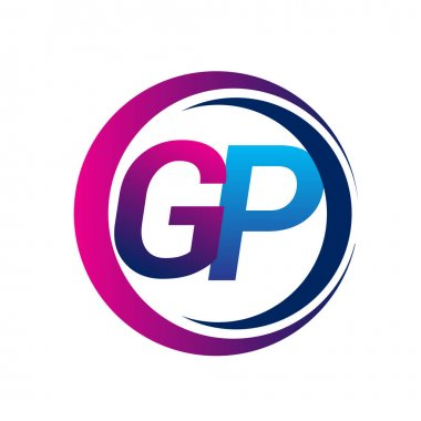 Initial letter logo GP company name blue and magenta color on circle and swoosh design. vector logotype for business and company identity. icon