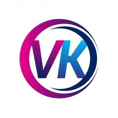 Initial letter logo VK company name blue and magenta color on circle and swoosh design. vector logotype for business and company identity. icon