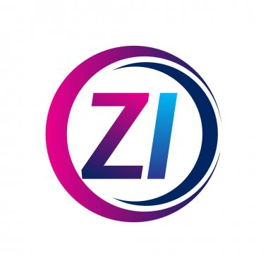 Initial letter logo ZI company name blue and magenta color on circle and swoosh design. vector logotype for business and company identity. icon