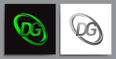 Letter DG logotype design for company name colored Green swoosh and grey. vector set logo design for business and company identity. icon