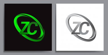 Letter ZC logotype design for company name colored Green swoosh and grey. vector set logo design for business and company identity. icon
