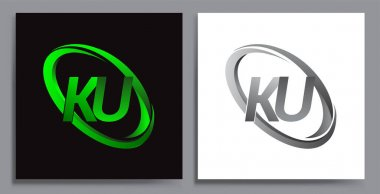 Letter KU logotype design for company name colored Green swoosh and grey. vector set logo design for business and company identity. icon