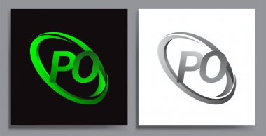 Letter PO logotype design for company name colored Green swoosh and grey. vector set logo design for business and company identity. icon