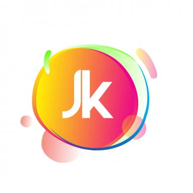 Letter JK logo with colorful splash background, letter combination logo design for creative industry, web, business and company. icon