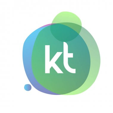 Letter KT logo with colorful splash background, letter combination logo design for creative industry, web, business and company. icon