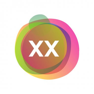 Letter XX logo with colorful splash background, letter combination logo design for creative industry, web, business and company. icon