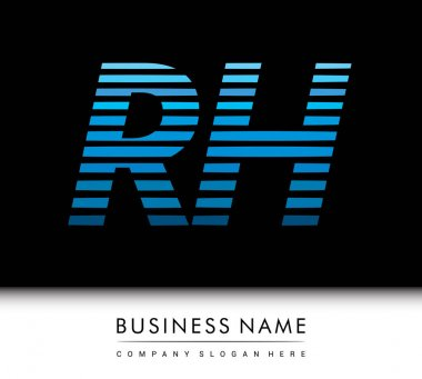 Initial letter logo RH colored blue with striped compotition, Vector logo design template elements for your business or company identity. icon