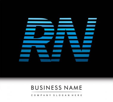 Initial letter logo RN colored blue with striped compotition, Vector logo design template elements for your business or company identity. icon
