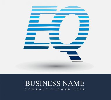 Initial letter logo EQ colored blue with striped compotition, Vector logo design template elements for your business or company identity. icon