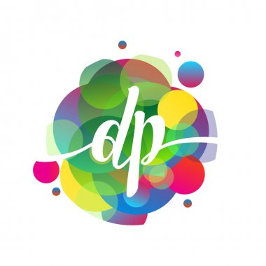 Letter DP logo with colorful splash background, letter combination logo design for creative industry, web, business and company. icon
