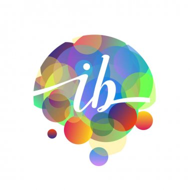 Letter IB logo with colorful splash background, letter combination logo design for creative industry, web, business and company. icon