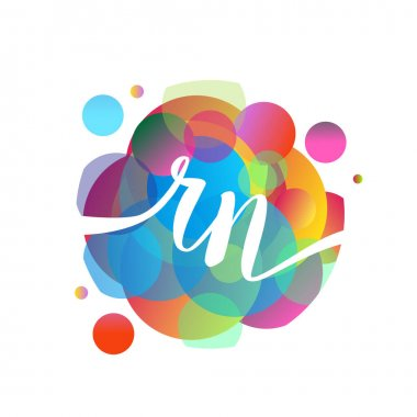 Letter RN logo with colorful splash background, letter combination logo design for creative industry, web, business and company.