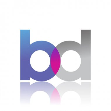 Initial Letter BD Lowercase overlap Logo Blue, pink and grey, Modern and Simple Logo Design. icon