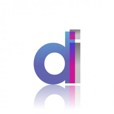 Initial Letter DI Lowercase overlap Logo Blue, pink and grey, Modern and Simple Logo Design. icon