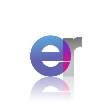 Initial Letter ER Lowercase overlap Logo Blue, pink and grey, Modern and Simple Logo Design. icon
