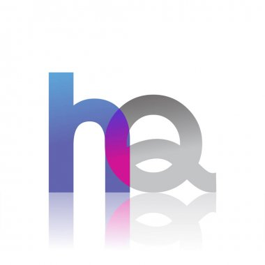 Initial Letter HQ Lowercase overlap Logo Blue, pink and grey, Modern and Simple Logo Design. icon