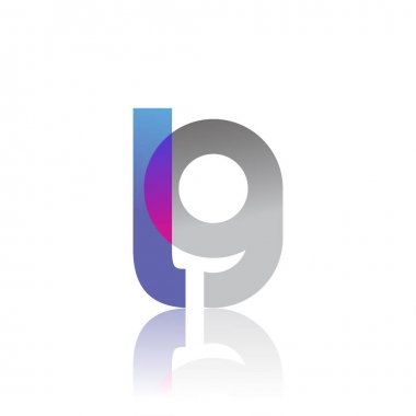 Initial Letter LG Lowercase overlap Logo Blue, pink and grey, Modern and Simple Logo Design. icon