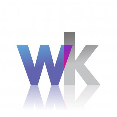 Initial Letter WK Lowercase overlap Logo Blue, pink and grey, Modern and Simple Logo Design. icon