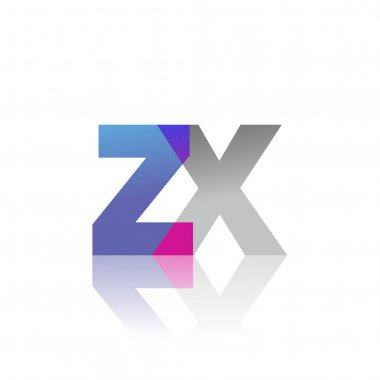 Initial Letter ZX Lowercase overlap Logo Blue, pink and grey, Modern and Simple Logo Design. icon