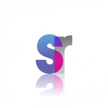 Initial Letter SR Lowercase overlap Logo Blue, pink and grey, Modern and Simple Logo Design. icon