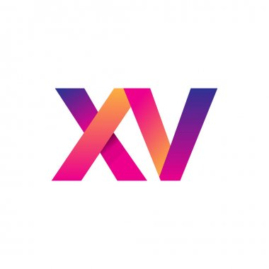 Initial Letter XV Logo Lowercase, magenta and orange, Modern and Simple Logo Design. icon