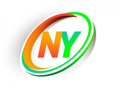Initial letter NY logotype company name colored orange and green circle and swoosh design, modern logo concept. vector logo for business and company identity. icon