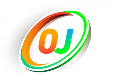 Initial letter OJ logotype company name colored orange and green circle and swoosh design, modern logo concept. vector logo for business and company identity. icon