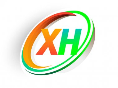 Initial letter XH logotype company name colored orange and green circle and swoosh design, modern logo concept. vector logo for business and company identity. icon