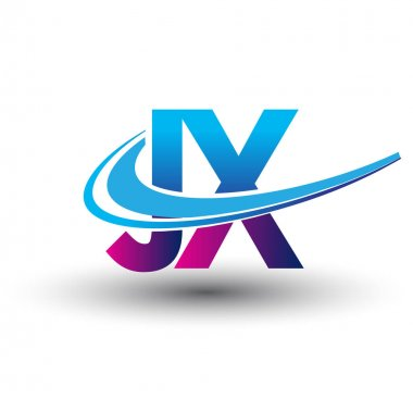 Initial letter JX logotype company name colored blue and magenta swoosh design. vector logo for business and company identity. icon