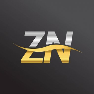 Initial letter logo ZN company name gold and silver color swoosh design. vector logotype for business and company identity. icon