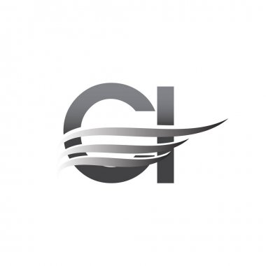 Initial CI wing logo, grey color vector logotype, logo for company name business and company identity. icon