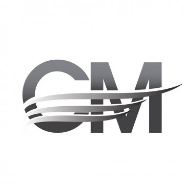 Initial CM wing logo, grey color vector logotype, logo for company name business and company identity. icon