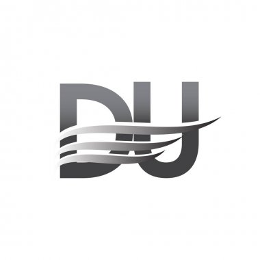 Initial DU wing logo, grey color vector logotype, logo for company name business and company identity. icon