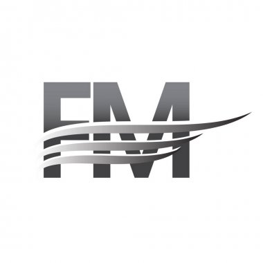 Initial FM wing logo, grey color vector logotype, logo for company name business and company identity. icon