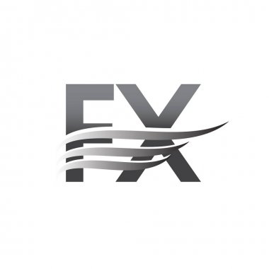 Initial FX wing logo, grey color vector logotype, logo for company name business and company identity. icon