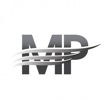 Initial MP wing logo, grey color vector logotype, logo for company name business and company identity. icon