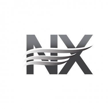 Initial NX wing logo, grey color vector logotype, logo for company name business and company identity. icon