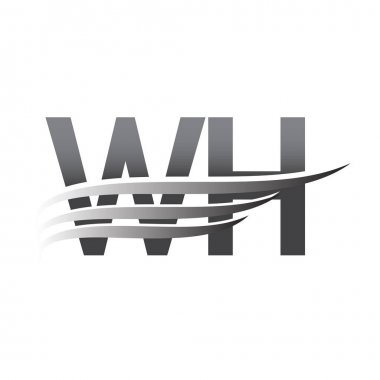 Initial WH wing logo, grey color vector logotype, logo for company name business and company identity. icon