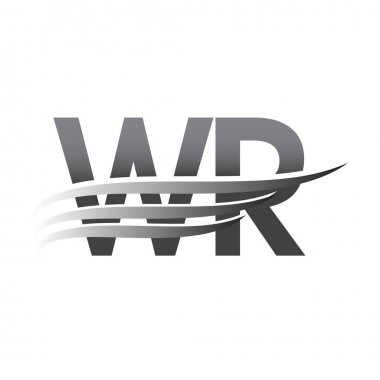 Initial WR wing logo, grey color vector logotype, logo for company name business and company identity. icon