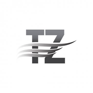 Initial TZ wing logo, grey color vector logotype, logo for company name business and company identity. icon