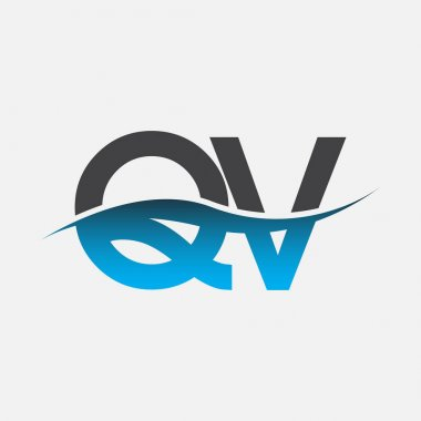 Initial letter logo QV company name blue and grey color swoosh design. vector logotype for business and company identity. icon