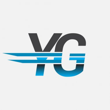Initial logo YG company name colored black and blue, Simple and Modern Logo Design. icon