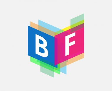 Letter BF logo with colorful geometric shape, letter combination logo design for creative industry, web, business and company. icon