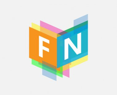 Letter FN logo with colorful geometric shape, letter combination logo design for creative industry, web, business and company. icon