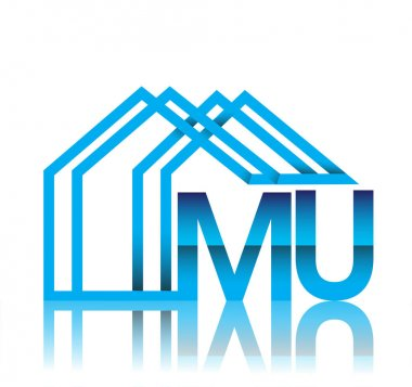 Initial logo MU with house icon, business logo and property developer. icon